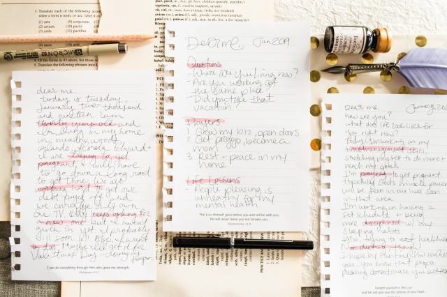 A collection of hand written notes