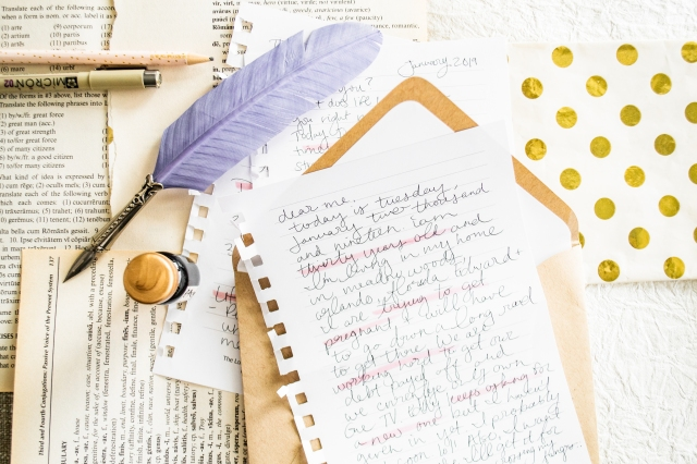 Hand written letters, feather pen, light-airy colors